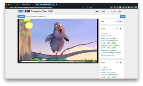 dash.js running in Firefox Developer Edition
