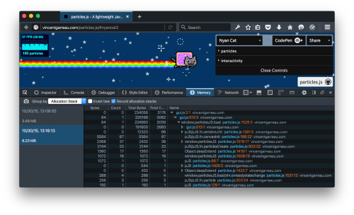 Screenshot of the DevTools memory panel