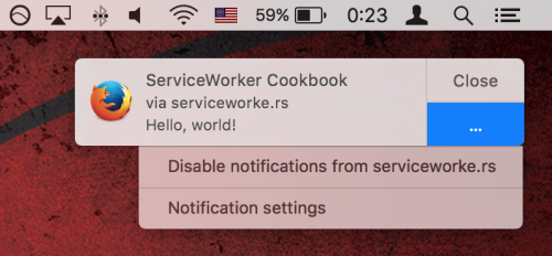 Screenshot of a Push Notification on Mac OS X