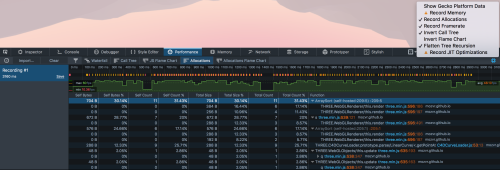 Screenshot of 'allocations view' in performance tool