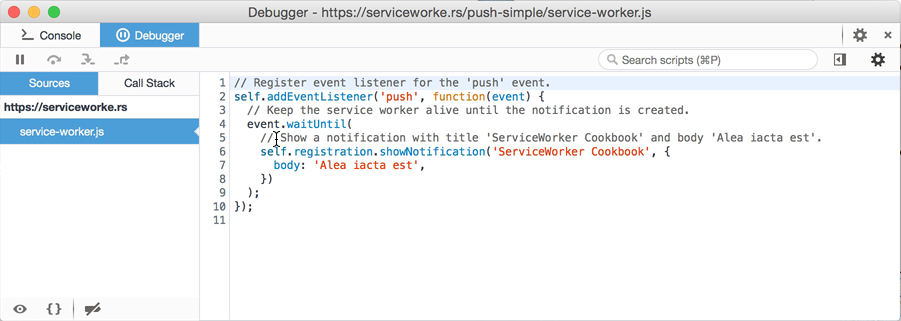 Service Worker debugger pop up window