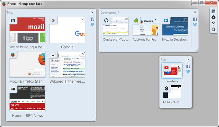 organize your tabs into groups using the Tab Groups extension