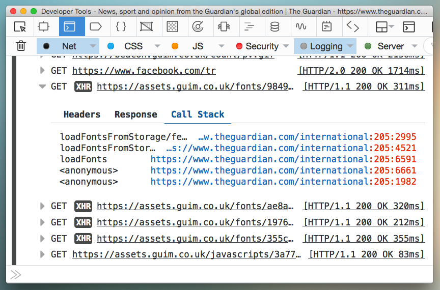 Screenshot of an HTTP log's stack trace in the console