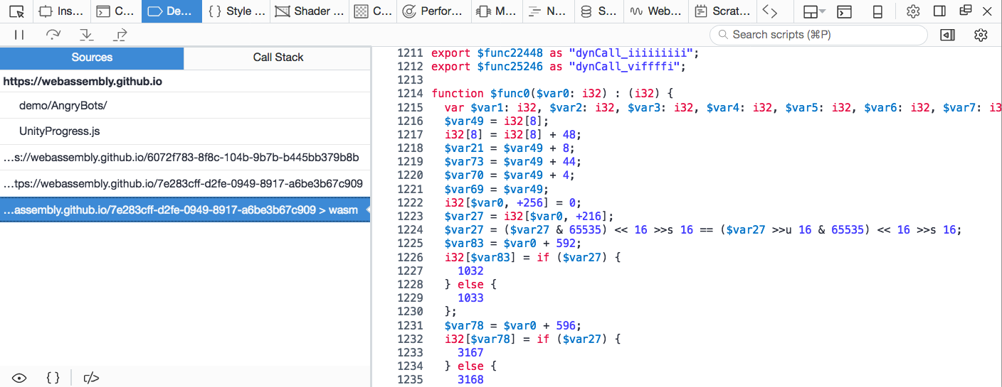 Screenshot of WebAssembly file syntax highlighting in debugger