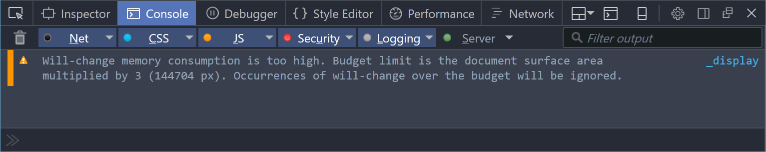 Screenshot of the DevTools console showing a will-change over-budget warning.