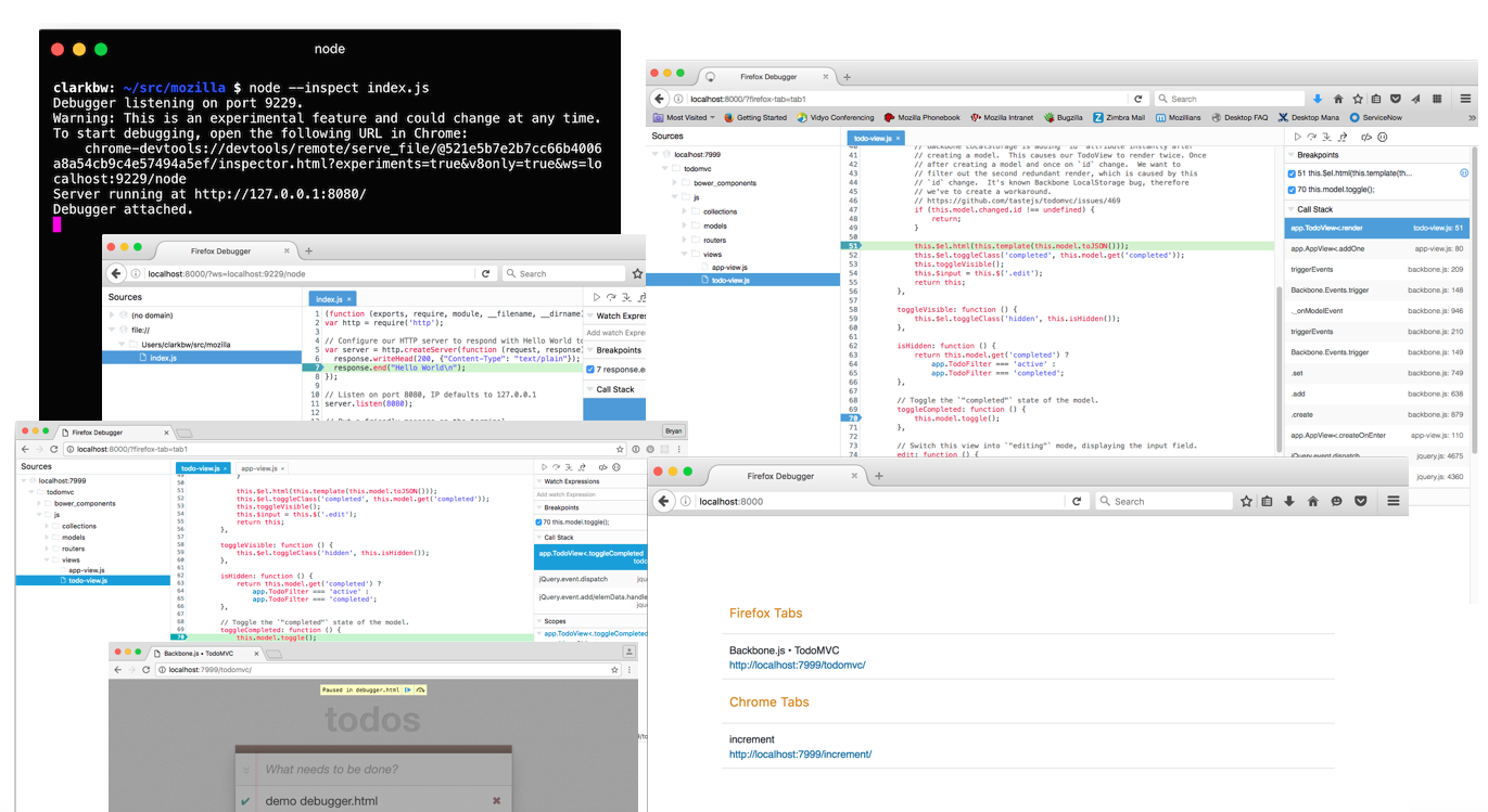 collage of debugger targets