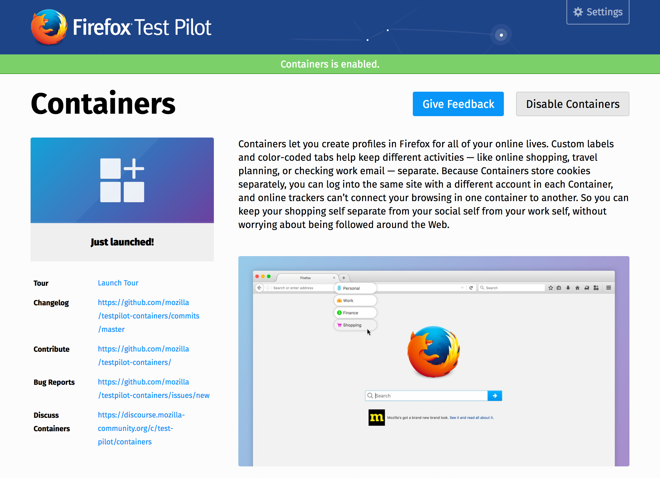 Containers Come to Test Pilot - Mozilla Hacks - the Web