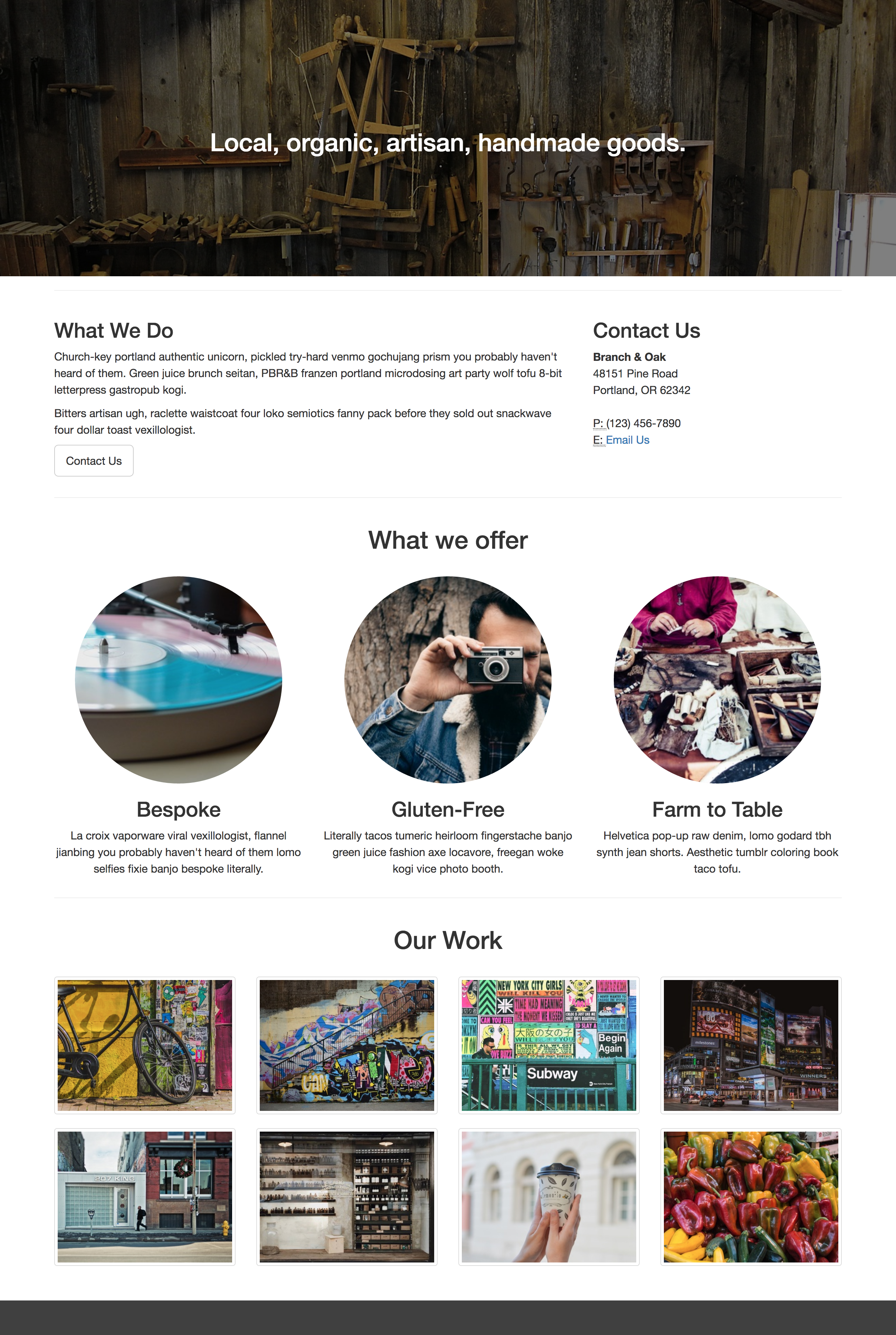 I Started By Creating A Basic Site Using The Bootstrap Grid