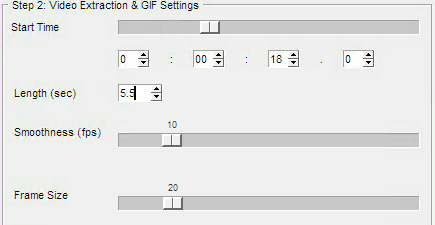 Three slide bars allow to modify start time, framerate (smoothness) and frame size. A text box indicates the length of the clip.