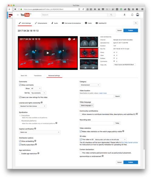 Browser content screenshot at Info & Settings tab of a YouTube video