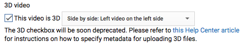 Checkbox for enabling 3D video. A warning reads:
