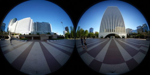 A dual-fisheye image arranges two fisheye images side by side