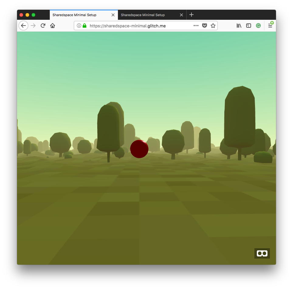 A forest with a red sphere in the middle representing the other peer