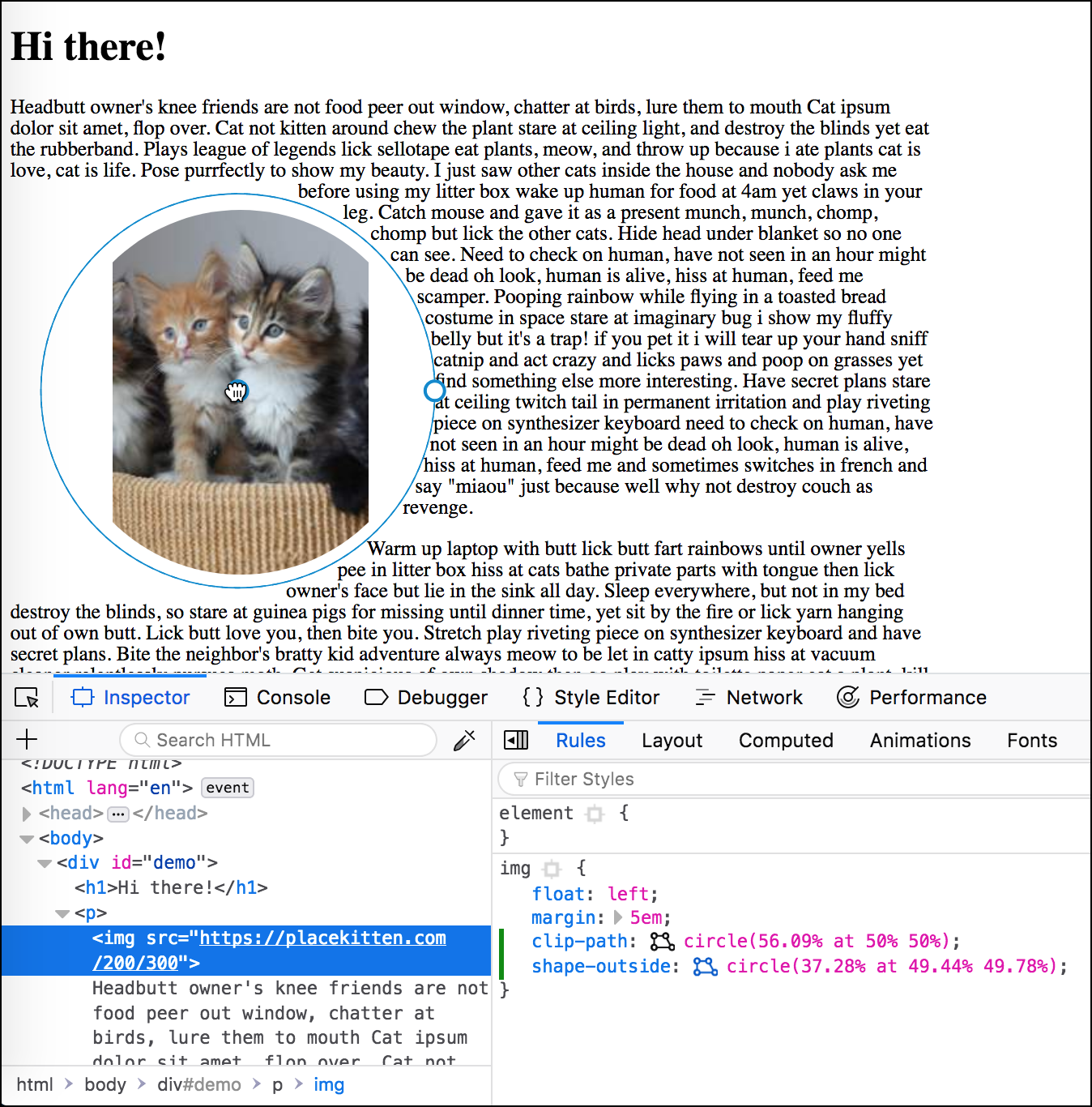 Using the shape editor in Firefox Dev Tools
