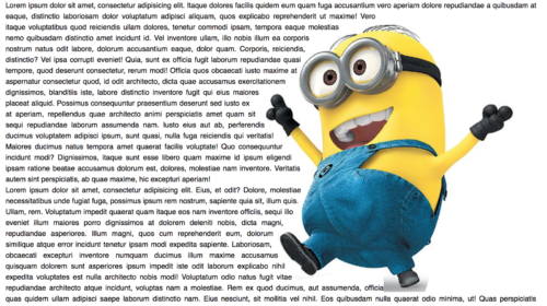 Image of minion with text flowing around them