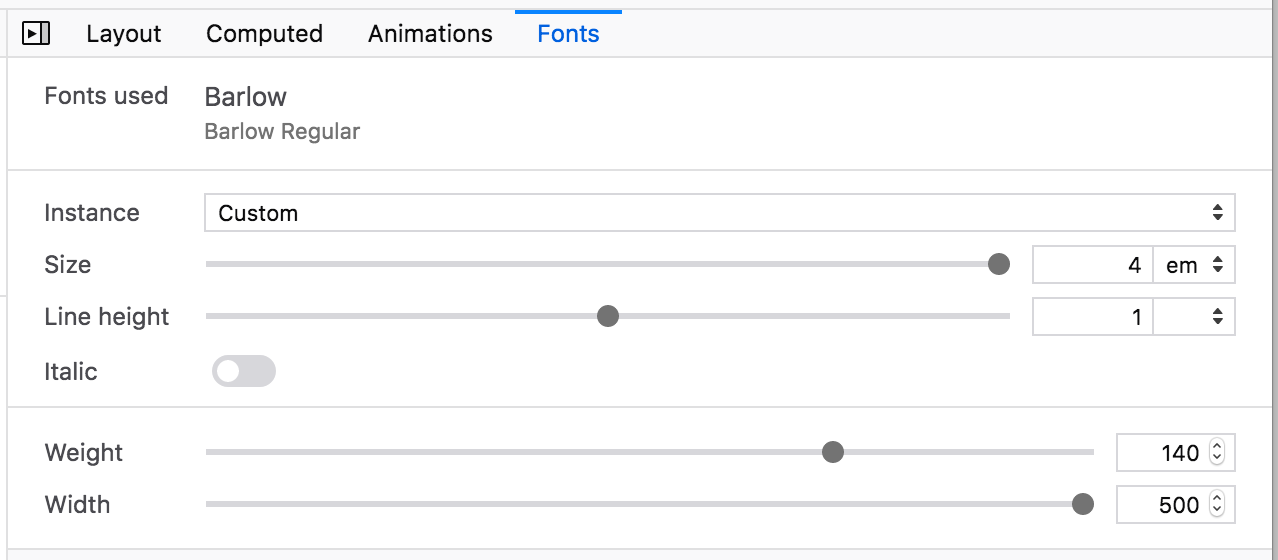 Screenshot of the new font tool in the Firefox DevTools