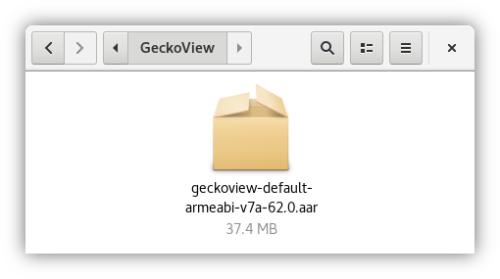 Screenshot of the GeckoView AAR (Android Library) file. It is about 37 MB large.