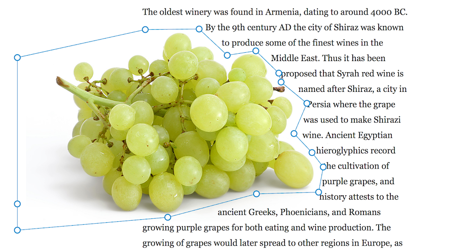 A CSS shape around some grapes