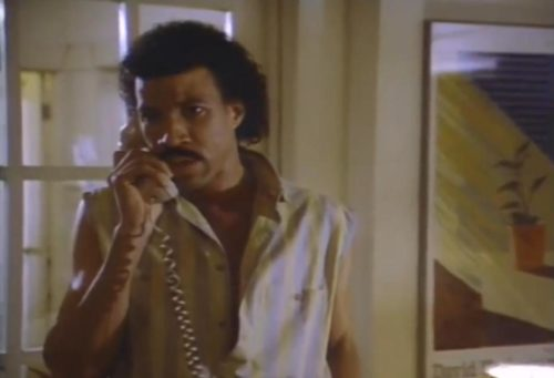 "Lionel Richie answering an 80's telephone from the video for ""Hello"""