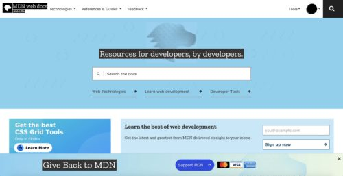 Image showing banner placement on the footer of MDN