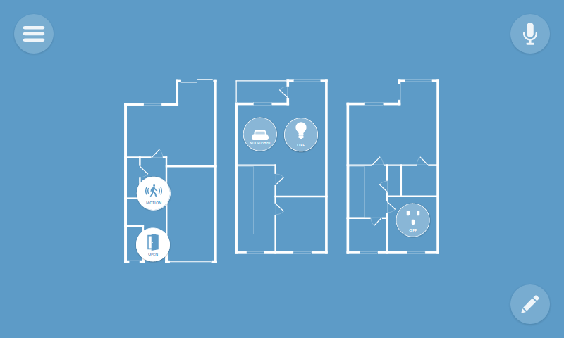 A floor plan style diagram describes uses of autonomous home monitoring with Project Things