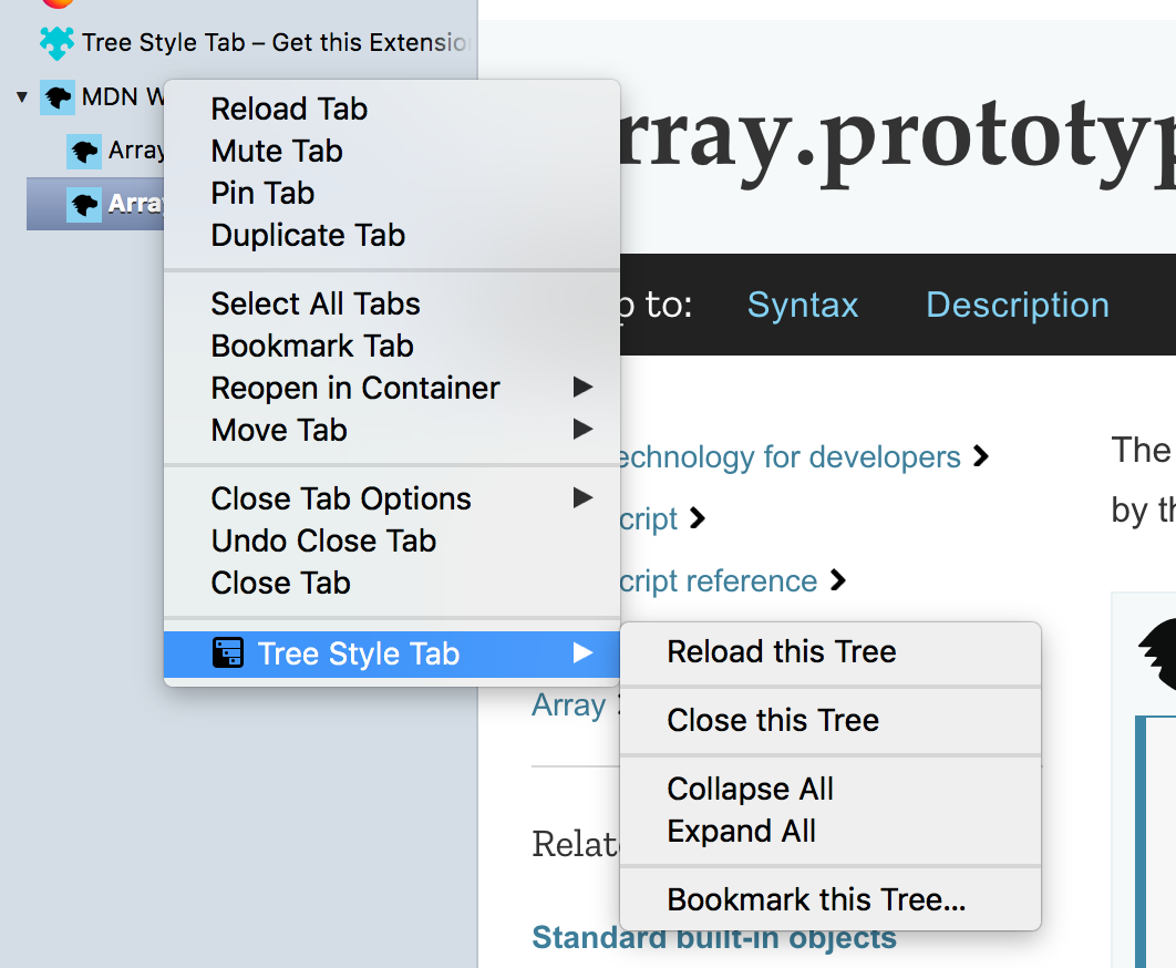A custom context menu used by the Tree Style Tab extension