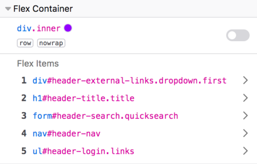 Flexbox container panel showing a list of flexbox items