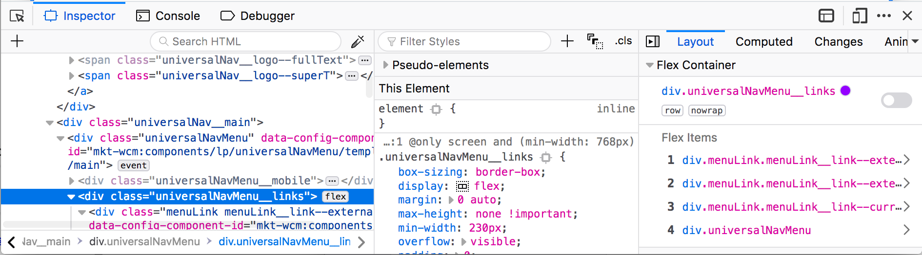 Showing the Flexbox info automatically when selecting a Flex element