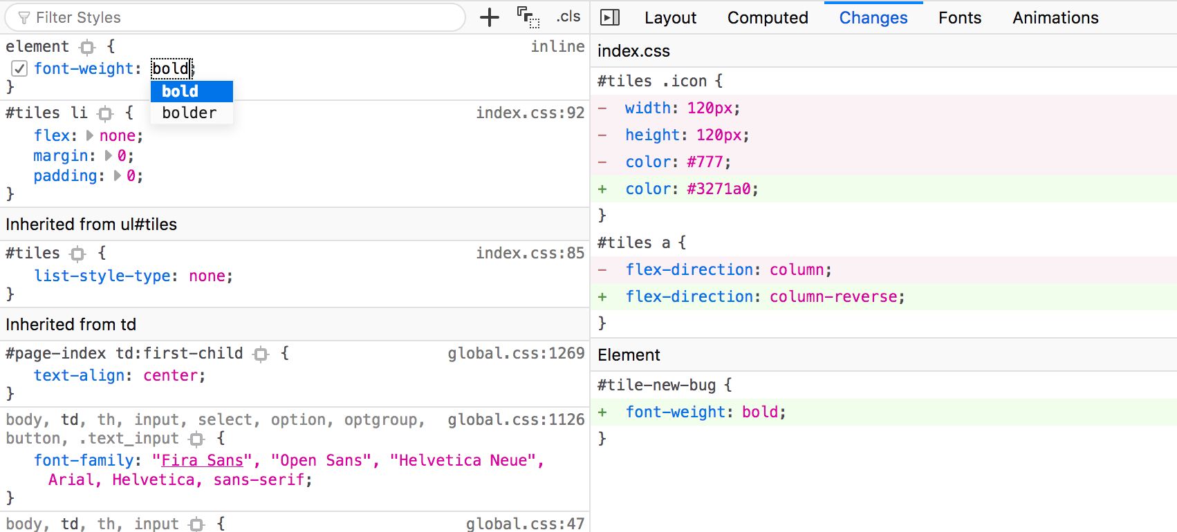 New changes panel showing additions, deletions and modifications of CSS as diff.