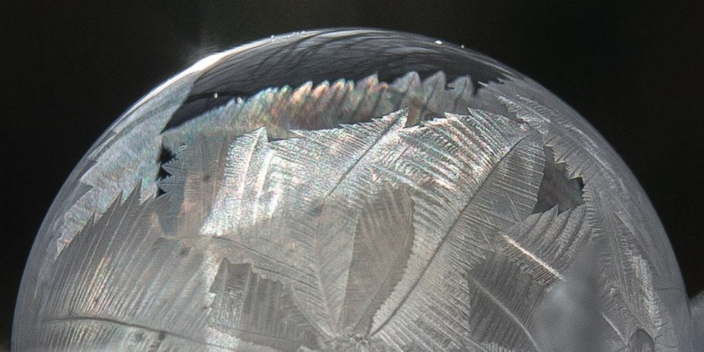 A frozen soap bubble