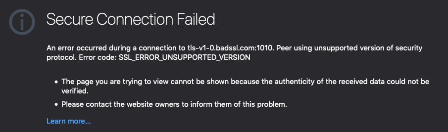Screenshot of a Secure Connection Failed error page
