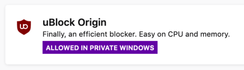 "Screenshot of uBlock Origin's settings with a banner reading ""Allowed in Private Windows"""