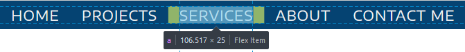 website nav menu with infobar pointing out that it is a flex item