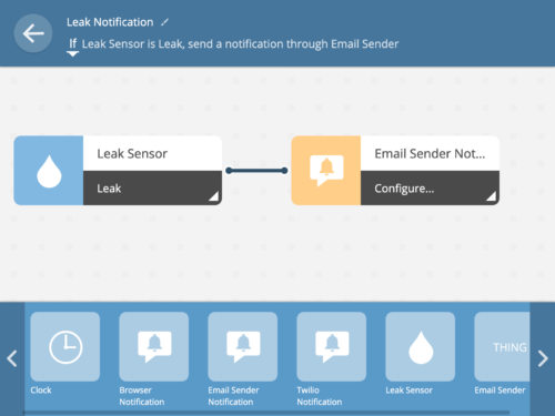 Fully configured if leak then send email rule