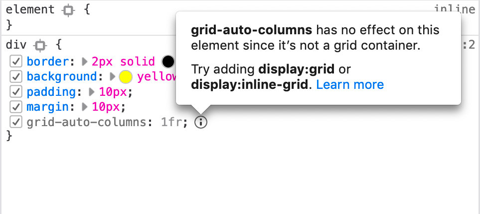 a warning message saying that grid-auto-columns isn't being applied because the element doesn't have display: grid applied