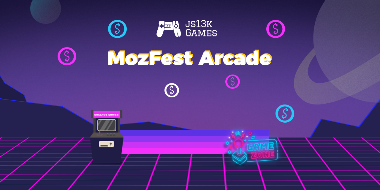 Decorative banner for the js13K Games MozFest Arcade