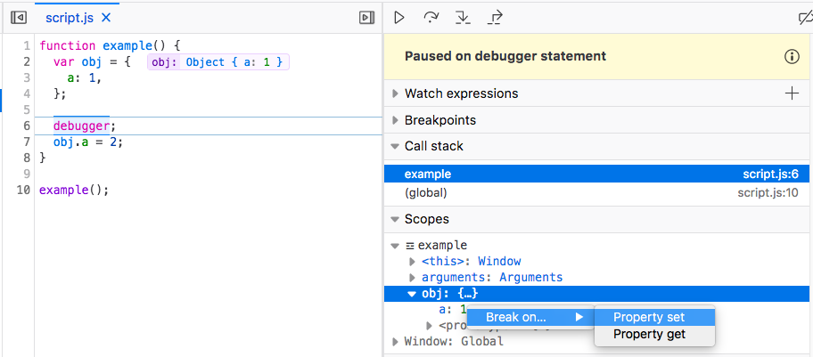 setting watchpoints in the debugger, using options in the context menu of objects in the scopes panel