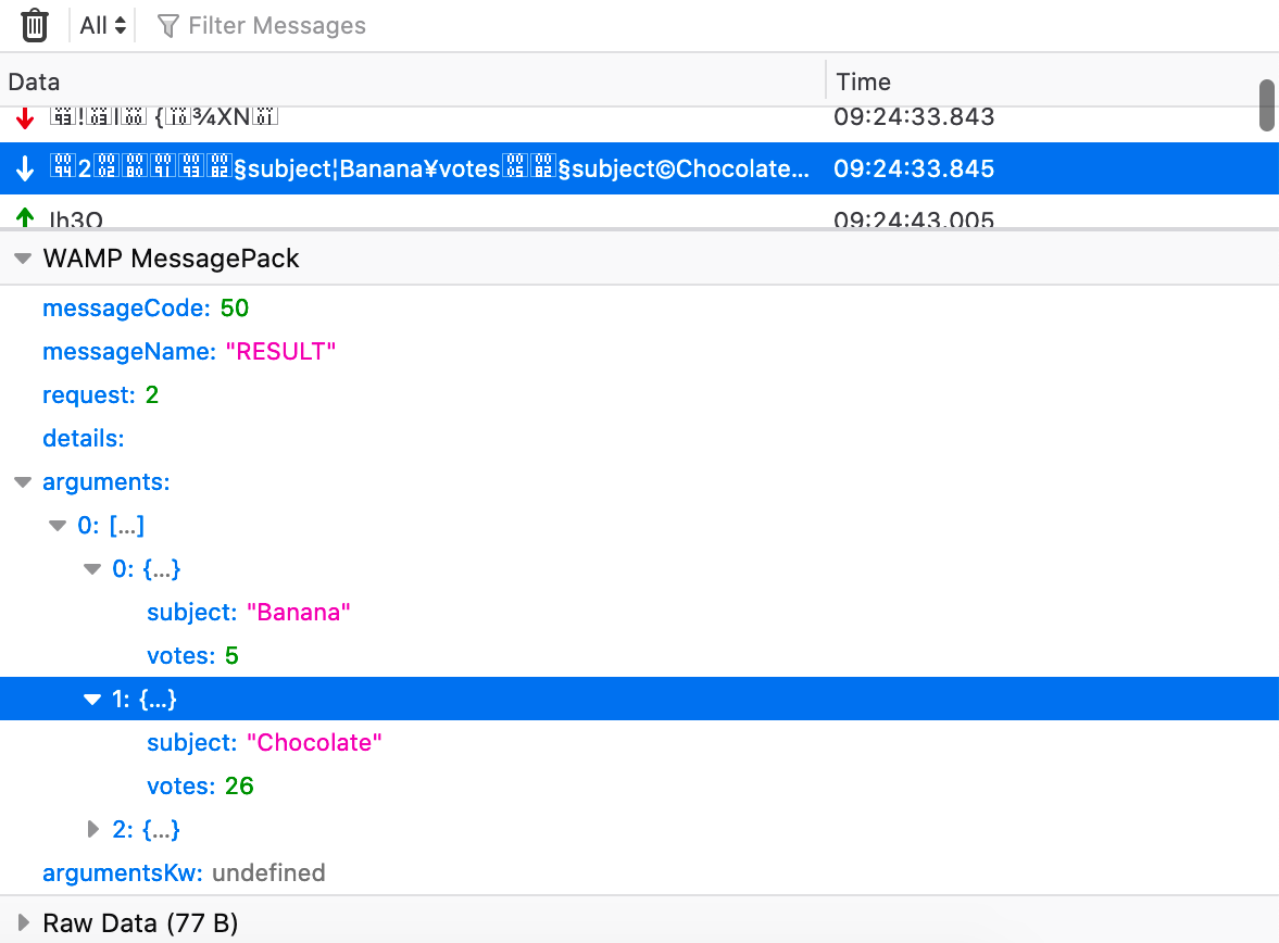 a screencapture showing WAMP MessagPack in the WebSocket Inspector