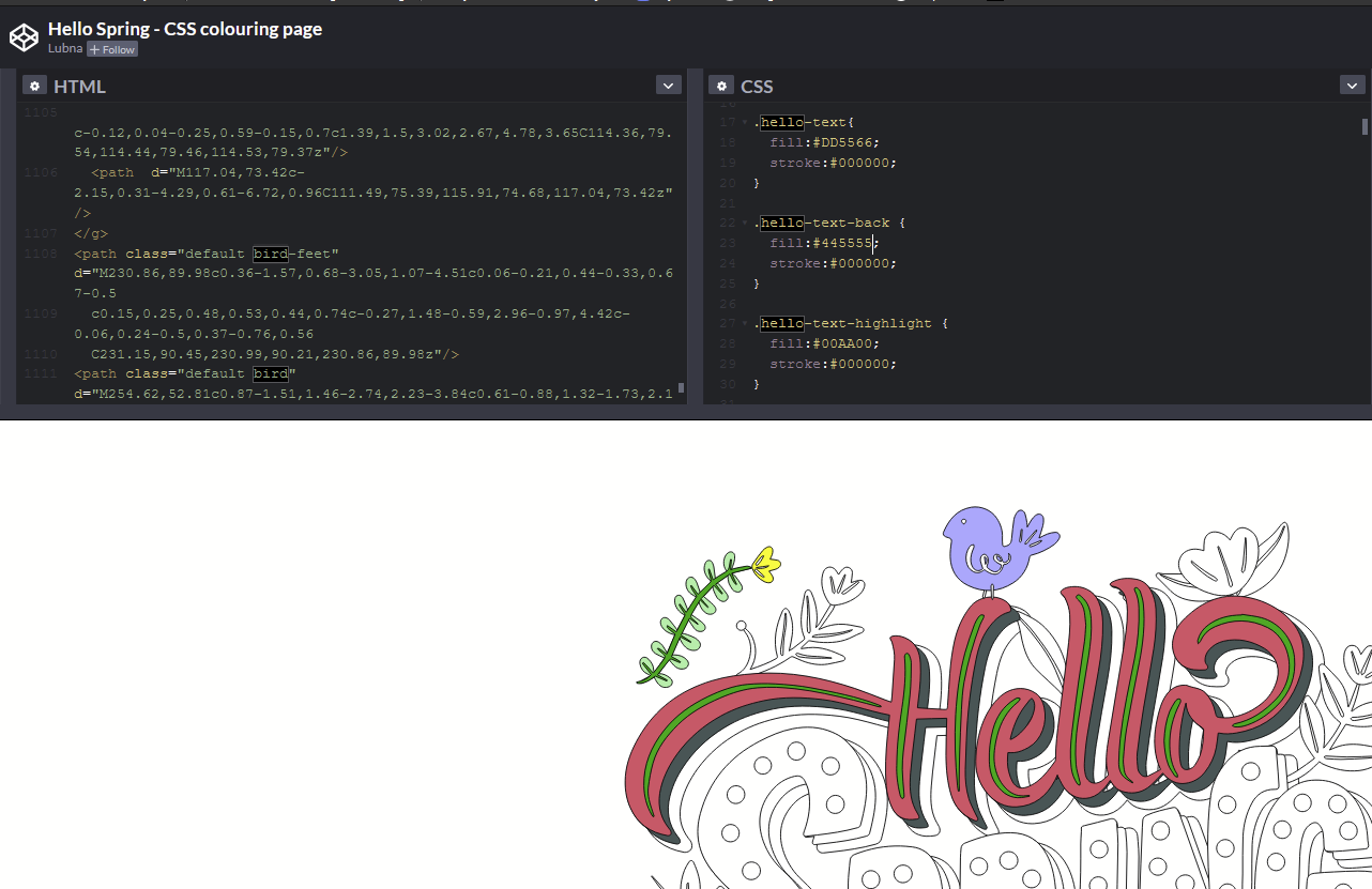 "Screenshot of the ""Hello Spring"" coloring book codepen with Edit button"