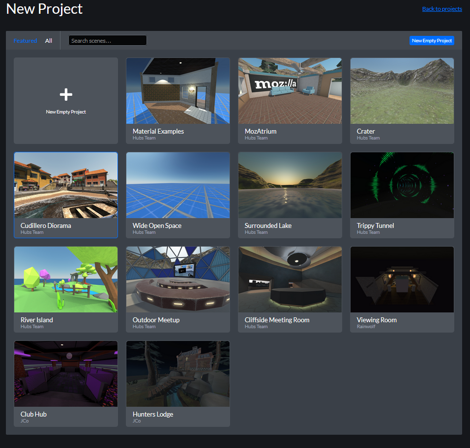 Example images of many different Hubs room environments created using Spoke