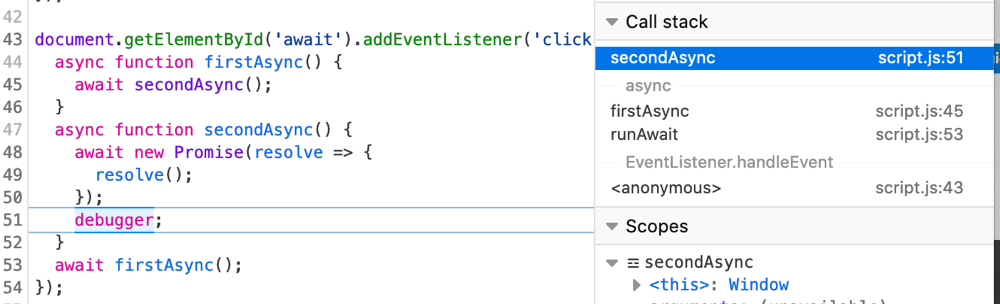 async call stack shown in the Firefox JavaScript debugger