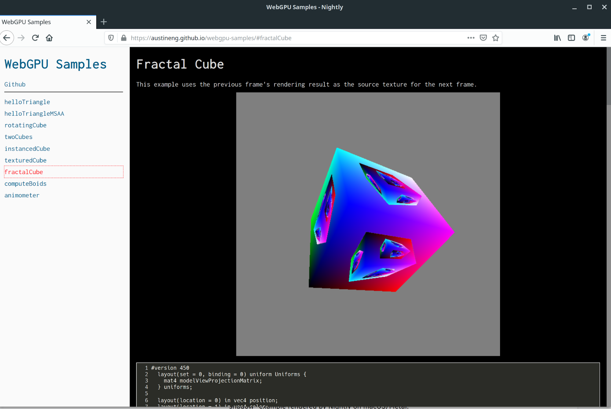 Fractal cube example on Linux