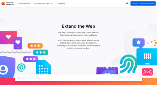 Screenshot of the Firefox Extension Workshop homepage