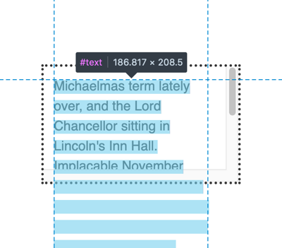Firefox UI showing a highlighted paragraph and a ghost of the hidden overflow content