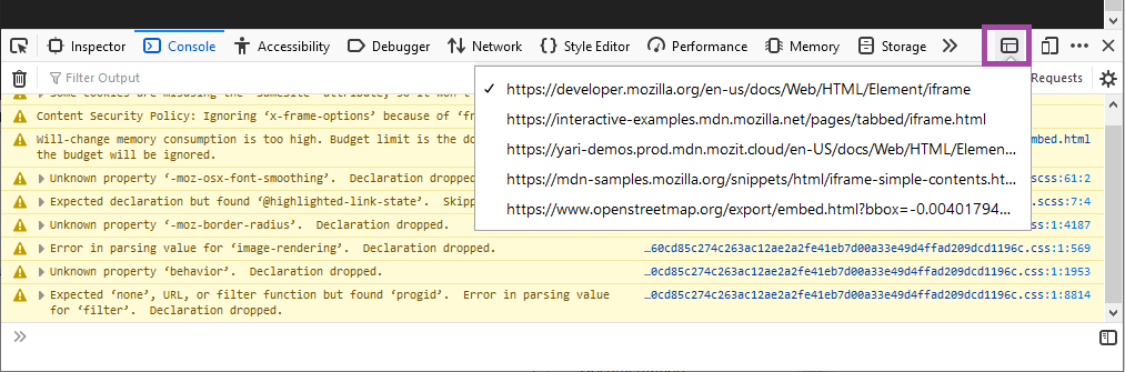 Firefox devtools, showing the select iframe dropdown menu, a list of the iframes on the page that can be selected from