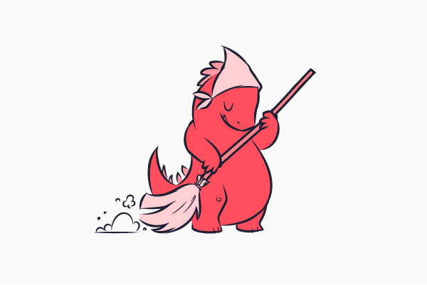 An illustration of a salmon coloured dinosaur sweeping with a broom