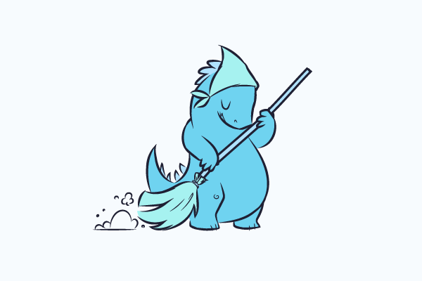 An illustration of a blue coloured dinosaur sweeping with a broom